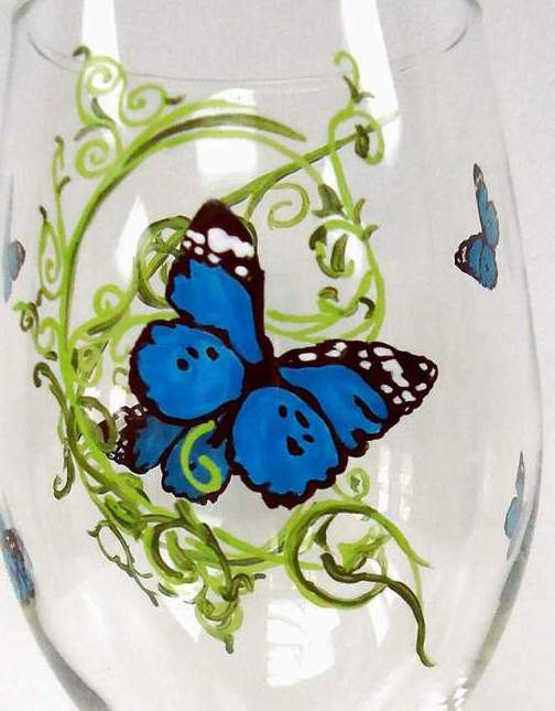 Butterfly Wine Glass