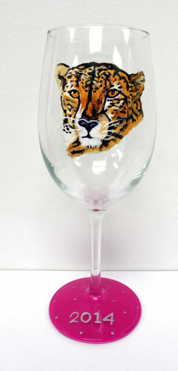 Cheetah Wine Glass