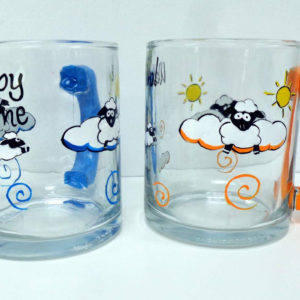 Counting Sheep Glass Coffee Mug Set