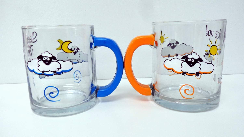 Counting Sheep Glass Coffee Mug Set