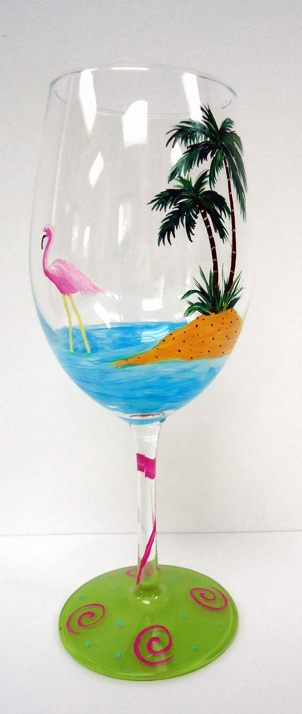 Flamingo Wine Glass