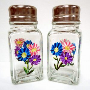 Gerber Daisy Salt and Pepper Shakers- blue/pink/purple