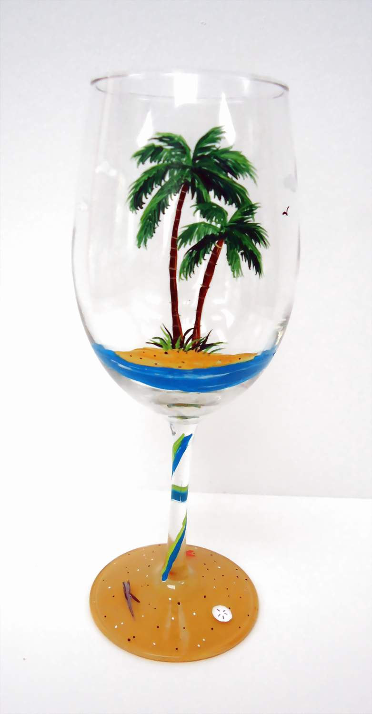 Palm Tree Wine Glass Set