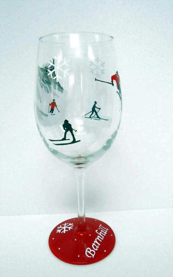 Skiing - Wine Glass