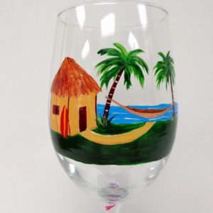 Tiki Hut Wine Glass