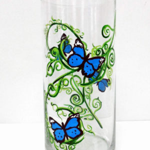 Blue Butterfly Pillar-Candle Holder