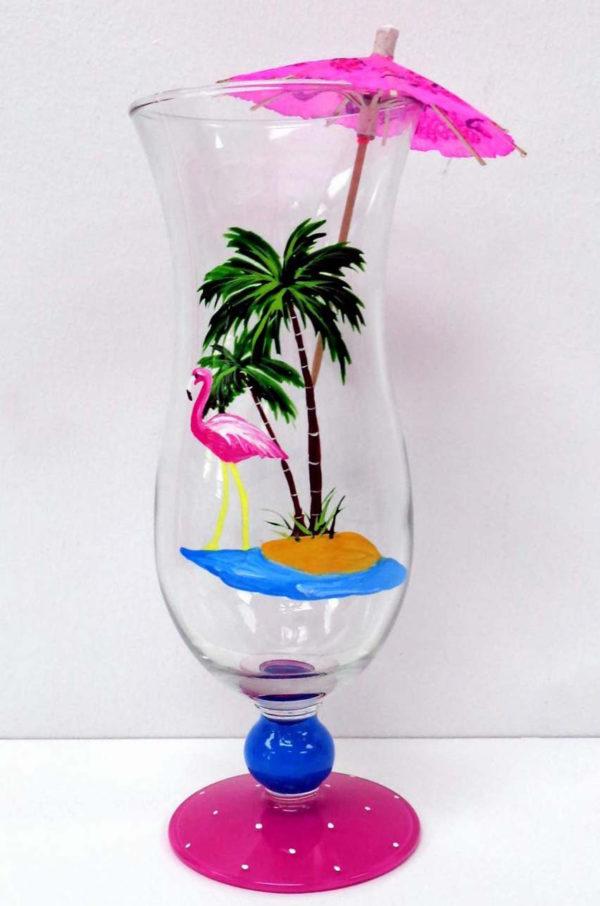 Flamingo Pina Colada Glass